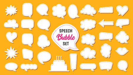 Speech bubble vector set in cartoon style. Blank white balloons and clouds for message or comment. Good for chat. Collection of square, round, star shapes. Banner for discount text.