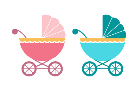baby pram, carriage, stroller in blue and pink 向量圖像