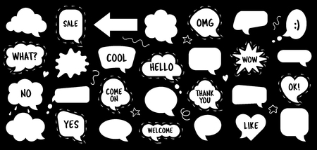 Speech bubble vector set in sketch or doodle style. Empty balloons and clouds with text hello, cool, like, thanks. Labels for comments or message. Sticker for price announcement. Square, round, star shapes