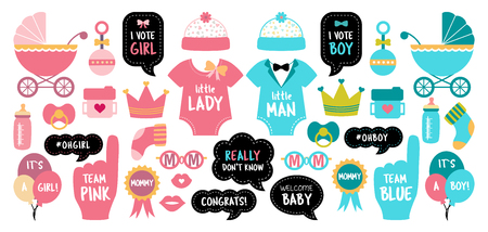 Baby shower photo booth props. Gender reveal party. Pink and blue cards to choose boy or girl. Vector photobooth set: bottle, nippel, foot, bib, rattle, pram, stroller. Good for invitation, banner, postcard