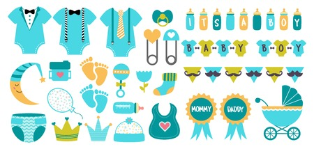 Baby shower icon vector set in pastel colors. Such elements as pram, bib, bottle, toy, stroller, sock, rattle. Illustrations to design cards, banner, invitation, postcard. Little boy birthday party 向量圖像
