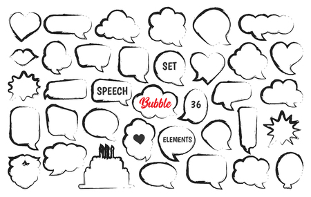 Speech bubble comic vector set in hand drawn sketch style 向量圖像