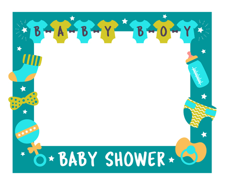 Baby shower frame for boy. Photo booth props for birthday party. Nursery blue template design with bottle, sock, nipple. Good for invitation, banner, postcard
