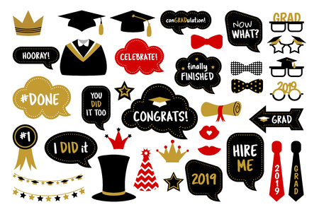 Photo booth props for graduation party photobooth Foto de archivo - 120441428