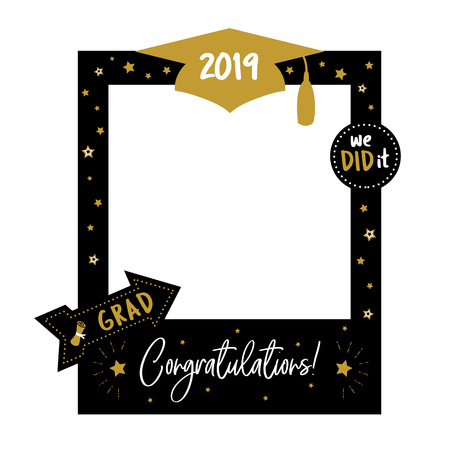 Graduation party photo booth props. Frame with cap for grads. Concept for selfie. Photobooth vector element. Congradulation grad quote. Gold and black decoration for celebration Illustration