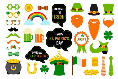St. Saint Patricks Day icon photo booth props set. Illustration