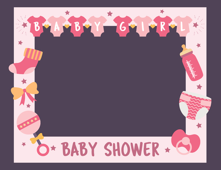 Baby shower frame for girl. Photo booth props for birthday party. Nursery pink template design with bottle, sock, nipple. Good for invitation, banner, postcard