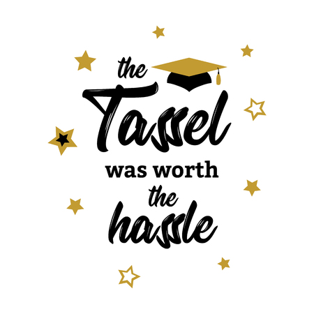 Tassel was worth hassle lettering Congrats Graduates 向量圖像