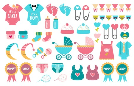 Baby shower icon vector set. Gender reveal party. Boy or girl Pink or blue team Such elements as pram, bib, bottle, toy, stroller, sock, rattle. Illustrations to design cards, banner, invitation.