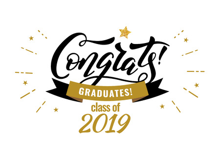 Congrats Graduates class of 2019 graduation congratulation party Ilustrace