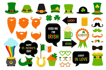 St. Saint Patricks Day icon photo booth props set. 向量圖像