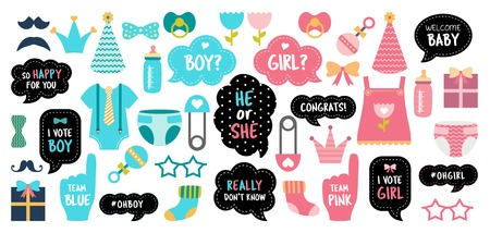 gender reveal baby shower photo booth props 向量圖像