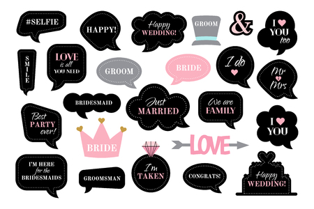 Photo booth props for wedding party. Vector speech bubbles with funny quotes like team bride, just married, I do. Black and pink photobooth - cake, hat, crown, arrow, love. Use for photo, selfie, frame