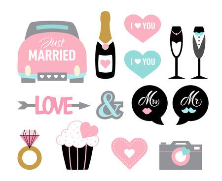 Wedding icon set cartoon style marriage bride