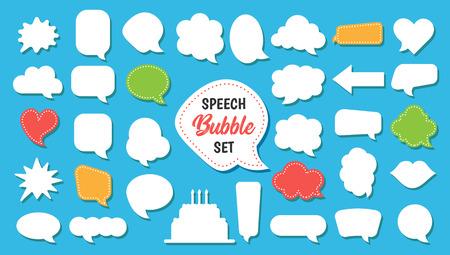 Speech bubble vector set in cartoon style Illustration