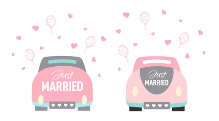 Vector wedding car in cartoon style. Just married couple bride and groom on a roadtrip to the honeymoon. Design in pastel colors for card, invitation, poster.