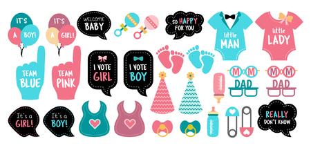 Apoyos de la cabina de la foto de la ducha del bebé. Fiesta de revelación de género. Tarjetas rosas y azules para elegir niño o niña. Conjunto de fotomatón de vector: botella, nippel, pies, juguete. Bueno para invitación, pancarta, póster. Plantilla de cumpleaños para recién nacido. Ilustración de vector