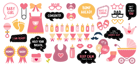 Baby shower photo booth props. Happy birthday party for girl. Pink cards and speech bubble with funny quotes for new born and parents. Vector photobooth set: bottle, nippel, stroller 向量圖像