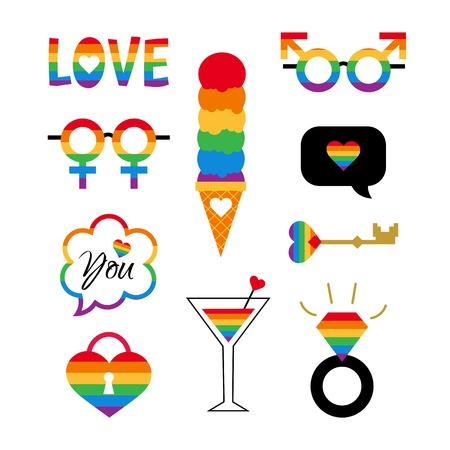 Vector pride symbols set gay LGBT party