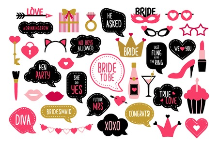 Set of party photo booth props Illustration