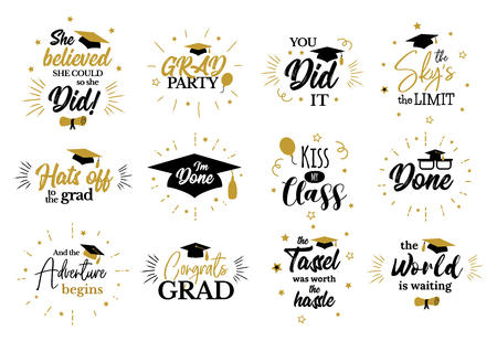 Inspirational grad party quotes to congrat graduates 免版税图像 - 120441475