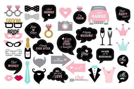 Photo booth props for wedding party bride Vettoriali
