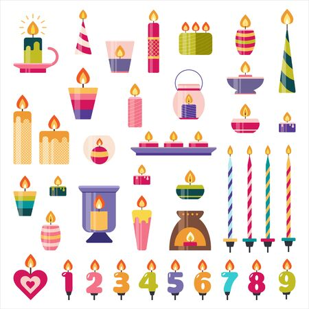 Birthday cake and holiday candles set. Numbers with flame in flat style. Wax candles with fire for decoration, aromatherapy, party, relax.