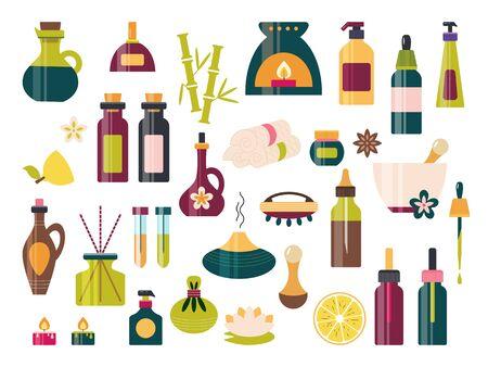 Aromatherapy icon set with essential oil spa