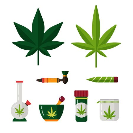 Marijuana and cannabis legalisation set. Hemp cdb thc in medicine. Sativa, indica plant and leaf. Weed oil, pills, bong, cupcake pipe. Medical cannabidiol.