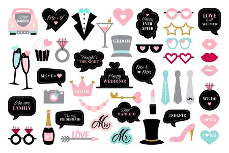 Photo booth props for wedding party bride Illustration