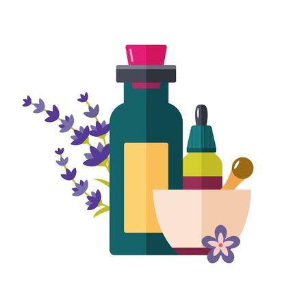 Homeopathy and holistic medicine bottle mortar sign Illustration