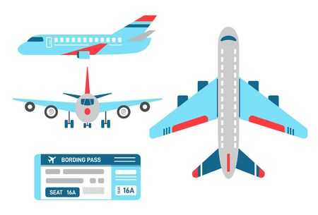Vector airplane in top, side and front view. Set of planes and airline ticket for the flight. Aircraft model with wings, engine, turbine. Boarding bass. Flat style illustration.