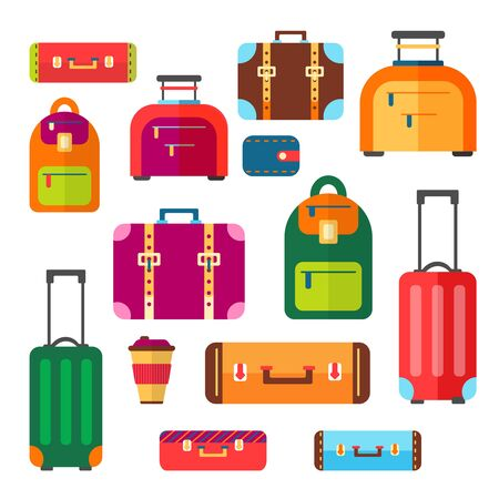 Baggage and suitcase vector set for travel. Summer vacation luggage. Briefcase, backpack, handbag, trolley illustration in flat style. Illustration