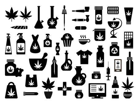 Cannabis marijuana plant oil medicicne silhouette set Illustration