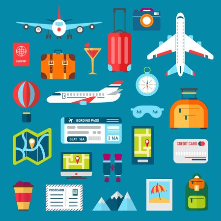 Vector plane baggage luggage summer airport travel Illustration