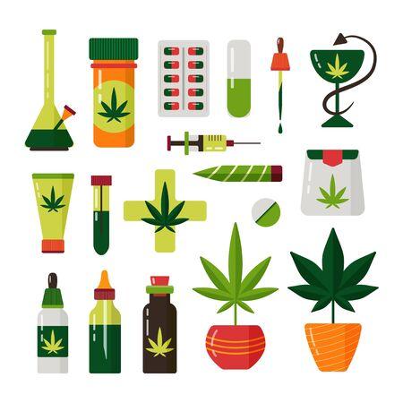 Cannabis marijuana plant flat medical vector set Illustration