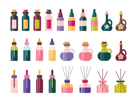 Aromatherapy essential oil glass bottle vector set Illustration