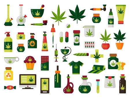 Cannabis marijuana plant oil illustration vector set Illustration