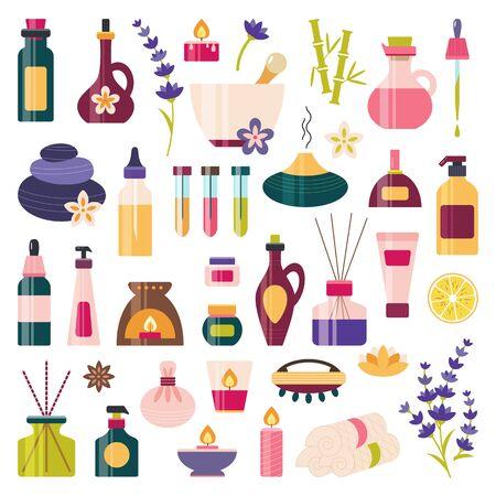 Aromatherapy, essential oil icon set. Spa, massage, wellness, beauty elements. Alternative medicine and ayurveda. Homeopathy. Bottle diffuser murmur cream soap dropper. Illustration