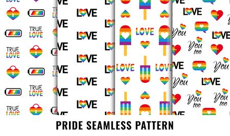 Gay pride seamless pattern background vector set Standard-Bild