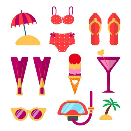 Summer vacation accessories and beach clothes vector set. Items for holiday and travel: snorkel, flippers, bikini, swimwear, glasses and other elements. Flat style illustration.