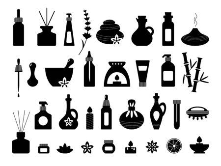 Aromatherapy, essential oil silhouettes set. Spa, massage, wellness, beauty icons. Alternative medicine and ayurveda. Homeopathy. Bottle diffuser murmur cream soap dropper stone. Standard-Bild