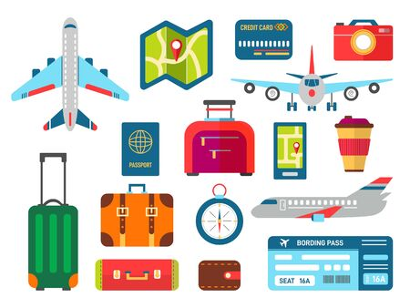 Vector airplane luggage summer vacation holidays set