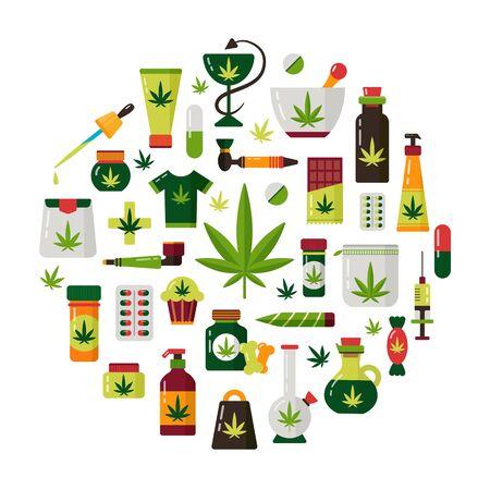 Marijuana hemp cannabis medical legalisation vector set Ilustracja
