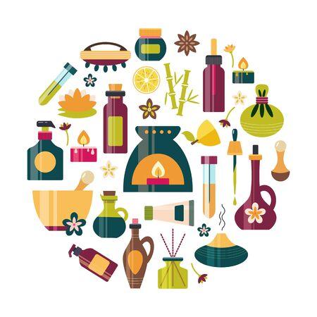 Aromatherapy essential oil icon set massage beauty Illustration