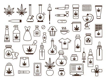 Marijuana cannabis legalisation icon thin line set Stock Illustratie