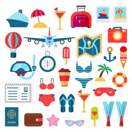 Summer trip holidays vector set flat style Stock Illustratie