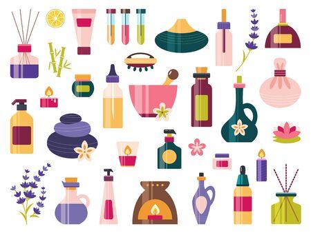 Aromatherapy icon set essential oil spa massage Vecteurs