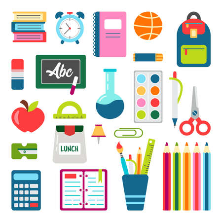 School stuff vector set. Back to school stationary. Supplies for office and education. Equipment for teachers and children. Pen, eraser, desk, ruler