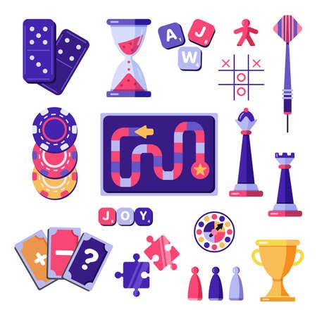 Board games entertainment play vector flat set